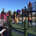 Kids at the newly constructed playground